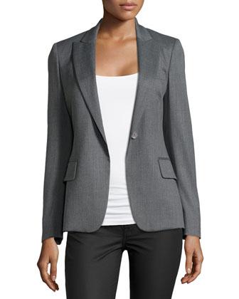 Wool Single-Button Blazer, Gray