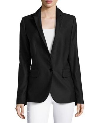 Single-Button Blazer Style Jacket, Black