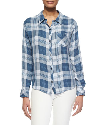 Hunter Long-Sleeve Plaid Shirt, Blue/White