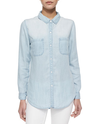 Light Vintage Polka-Dot Chambray Shirt