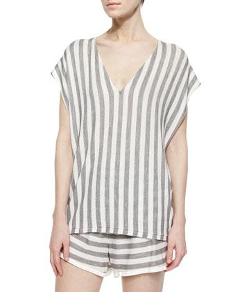 Oversize Striped Cap-Sleeve Sweater