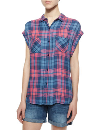 Britt Short-Sleeve Plaid Shirt, Berry