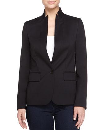 Blazer-Style Wool Jacket, Black