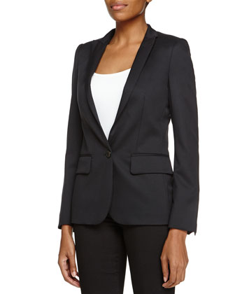 Blazer-Style Wool Jacket, Blue