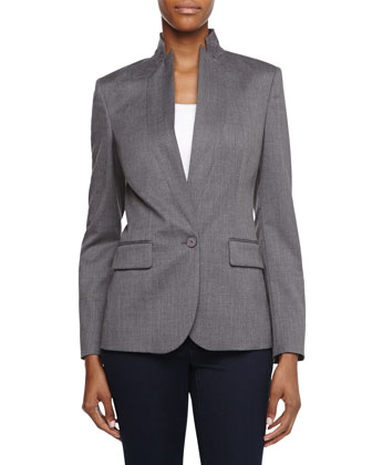 One-Button Wool Blazer, Gray
