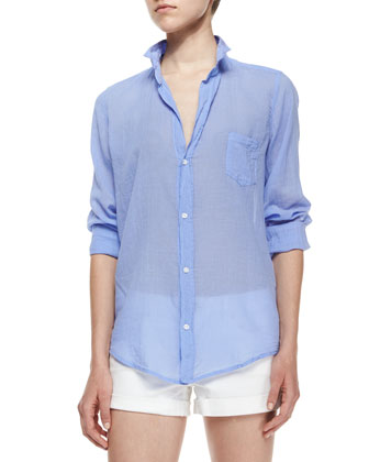 Barry Long-Sleeve Button-Front Blouse, French Blue