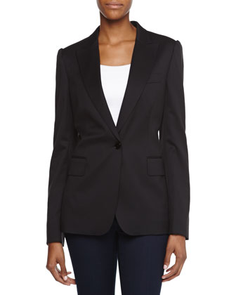 One-Button Wool Jacket, Black