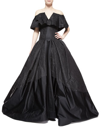 Cape-Overlay Ball Gown, Jet Black