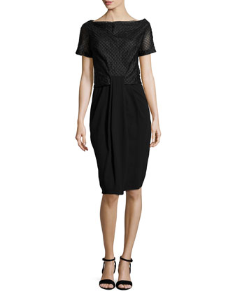 Short-Sleeve Draped-Front Combo Dress, Black
