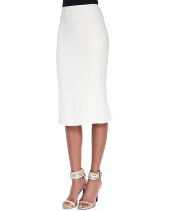 Pleat-Back Pencil Skirt