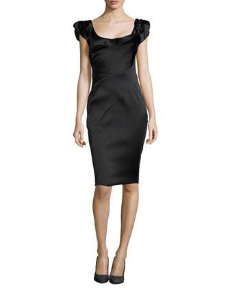 Front Draped Sheath Dress, Noir