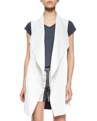 Draped Crepe Tie-Waist Vest, Little Boy V-Neck Tee & Tab-Front Striped ...