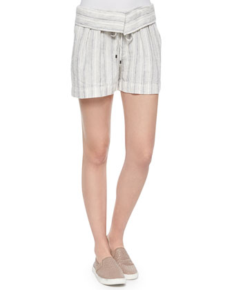 Metallic V-Neck Sweater & Fold-Over Striped Drawstring Shorts