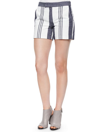Tab-Front Striped Cotton Shorts