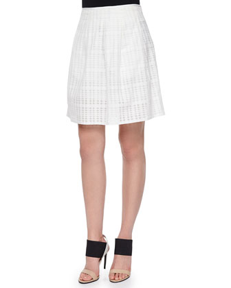 Striped Cap-Sleeve High-Low Top & Pleated Texture-Stripe Skirt