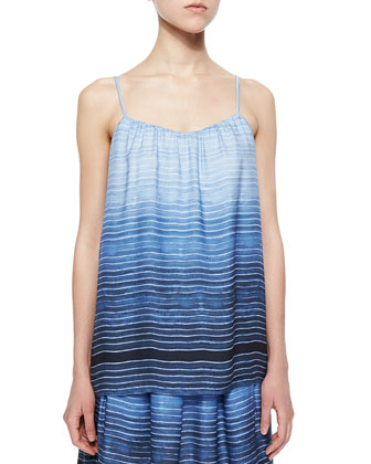 Striped Shantung Camisole & Striped Pleated Drawstring Skirt