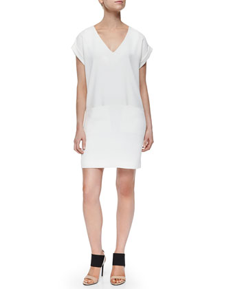 Cuff-Sleeve V-Neck Dress