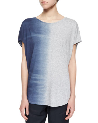 Short-Sleeve Ombre Slub Top