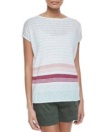 Mixed-Stripe Cotton Slub Tee