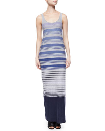 Variegated-Stripe Cotton Maxi Dress