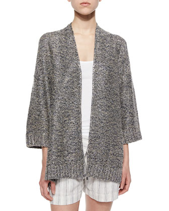 Metallic Chunky Knit Open Cardigan, Ribbed Favorite Tank & Fold-Over ...