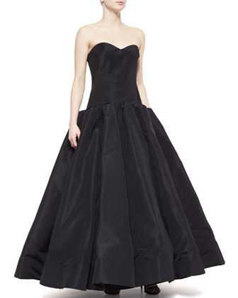 Strapless Silk Ball Gown, Black