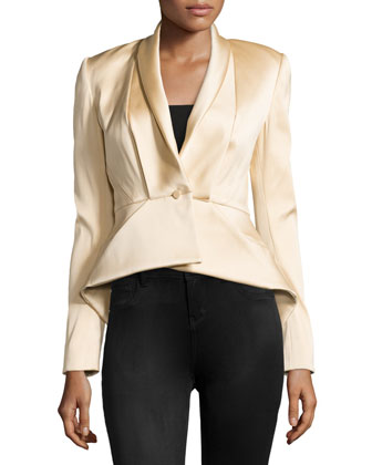 Peplum-Back Satin Jacket