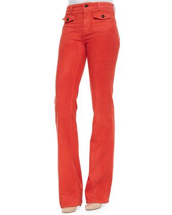 High-Waist Boot-Cut Denim Jeans, Red