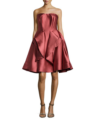 Strapless Peplum Full-Skirt Dress, Rose