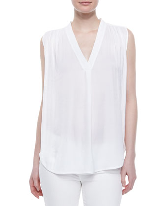 V-Neck Ruched-Shoulder Blouse