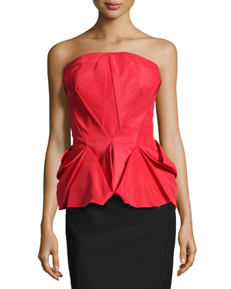 Fold-Pleated Peplum Bustier Top