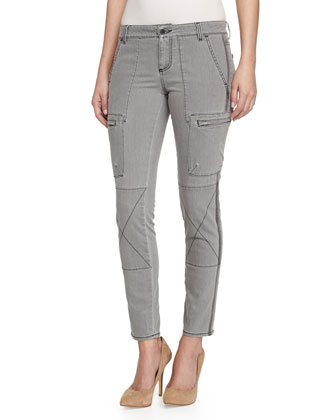 Skinny Denim Cargo Pants, Gray