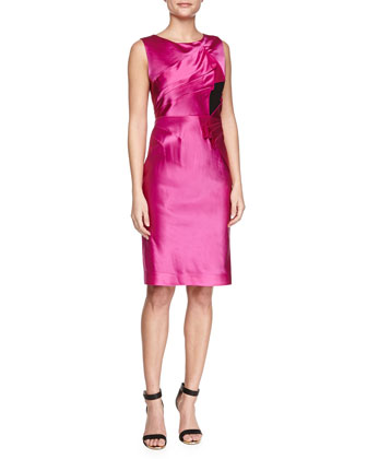 Duchess Satin Pleated Dress, Cassis