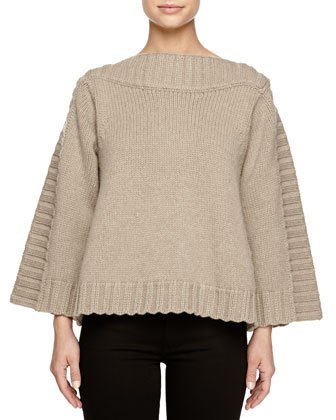 Wool Button-Back A-line Pullover