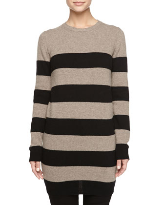 Long-Sleeve Striped Wool-Cashmere Dress