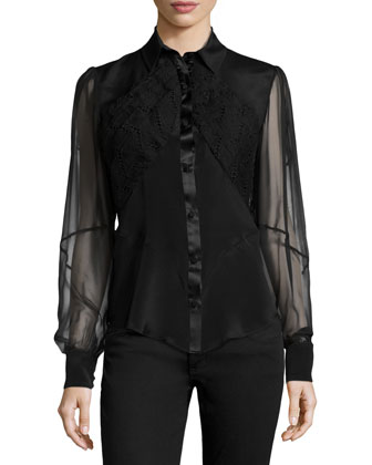 Sheer-Sleeve Embroidered Blouse