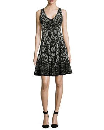 Sleeveless Jacquard Fit & Flare Dress