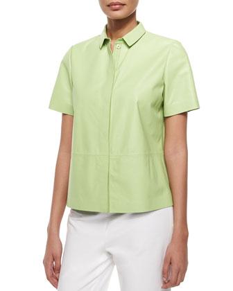 Maisie Leather Short-Sleeve Shirt Jacket