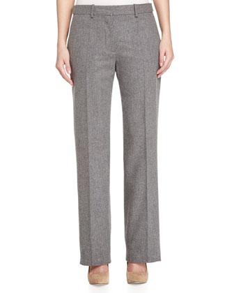 Straight-Leg Narrow Trousers, Gray