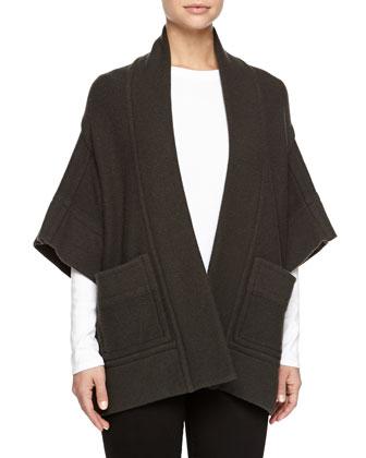 Kimono-Sleeve Open Jacket