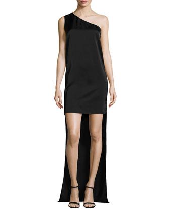 One-Shoulder High-Low Dress, Black