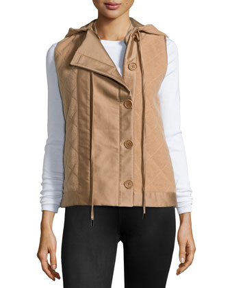 Quilted Hooded Vest, Cream