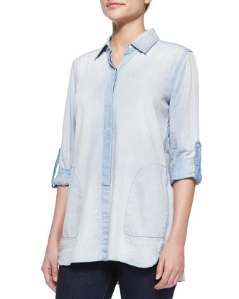 Maria Chambray Tunic Shirt, Light Wash