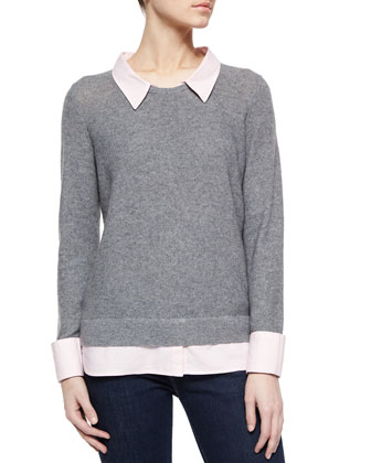 Rika Shirttail Sweater, Heather Gray/Pink