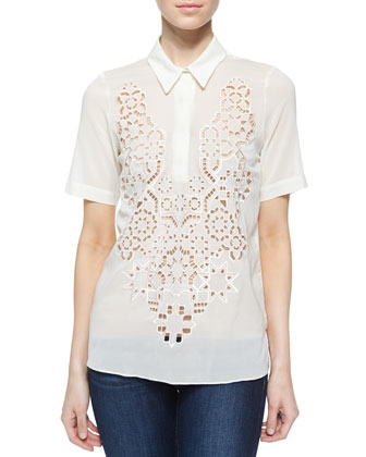 Silk Mosaic Cutout Top