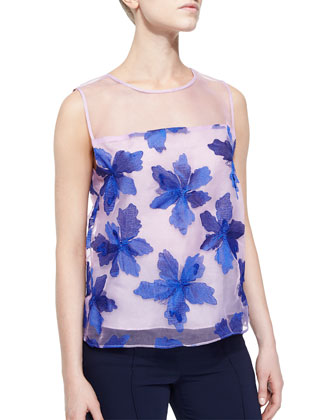Organza Floral-Applique Sleeveless Top