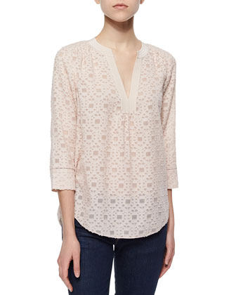 Mosaic-Pattern Silk Blouse, Flora