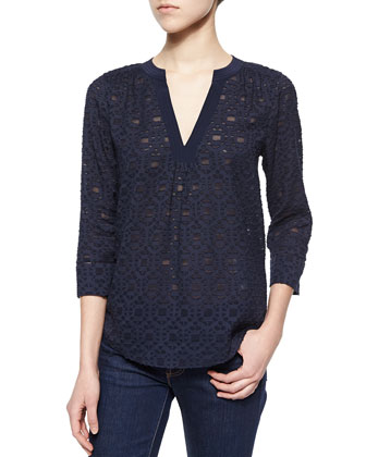 Mosaic-Pattern Silk Blouse, Navy