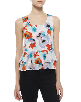 Tiered Floral-Print Silk Top