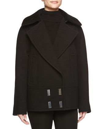 Sheepskin-Collar Double-Breasted Pea Coat